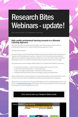 Research Bites Webinars - update!