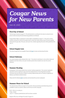 Cougar News for New Parents