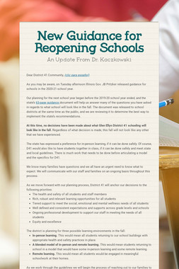 New Guidance for Reopening Schools