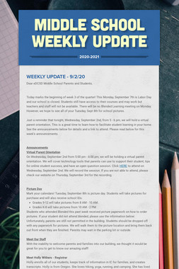 Middle School Weekly Update