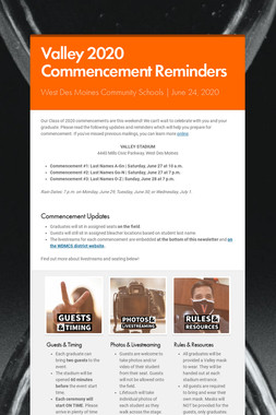 Valley 2020 Commencement Reminders