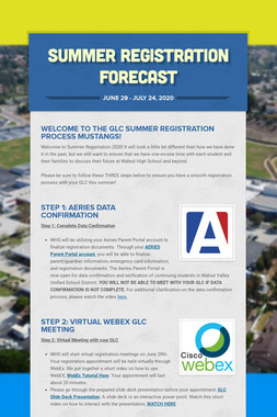 SUMMER REGISTRATION FORECAST