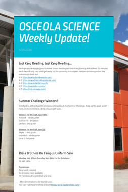 OSCEOLA SCIENCE Weekly Update!
