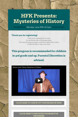 HFK Presents: Mysteries of History