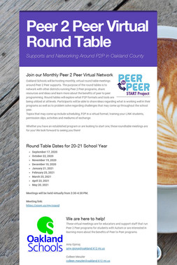 Peer 2 Peer Virtual Round Table