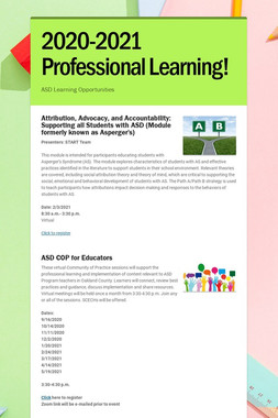 2020-2021 Professional Learning!