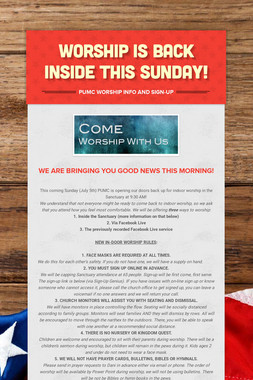 WORSHIP IS BACK INSIDE THIS SUNDAY!