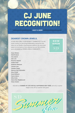 CJ June Recognition!