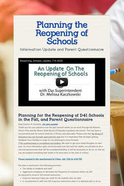Planning the Reopening of Schools