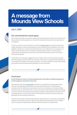 A message from Mounds View Schools