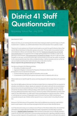 District 41 Staff Questionnaire