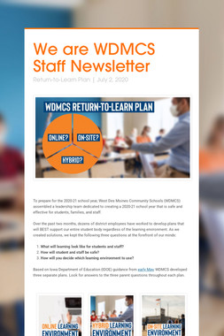 We are WDMCS Staff Newsletter