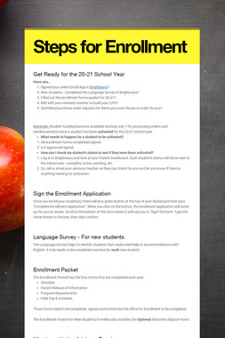 Steps for Enrollment