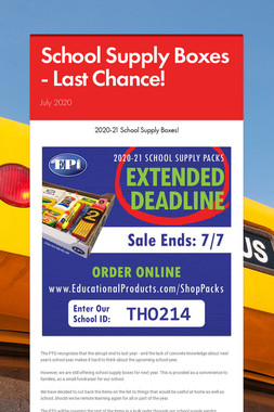 School Supply Boxes - Last Chance!