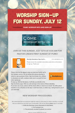 WORSHIP SIGN-UP FOR SUNDAY, JULY 12