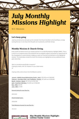 July Monthly Missions Highlight