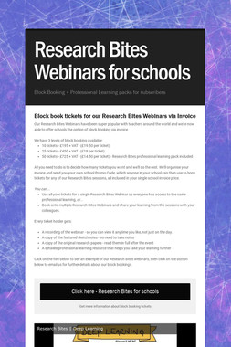 Research Bites Webinars for schools
