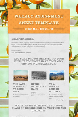 Weekly Assignment Sheet Template