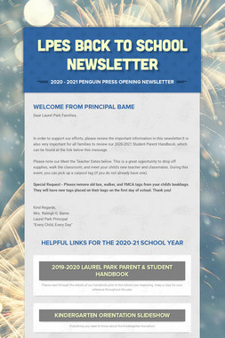 LPES Back to School Newsletter