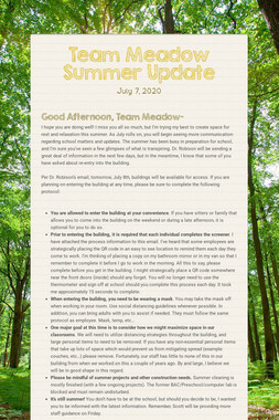 Team Meadow Summer Update