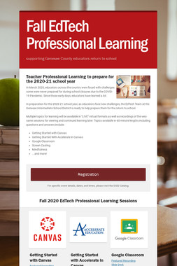 Fall EdTech Professional Learning