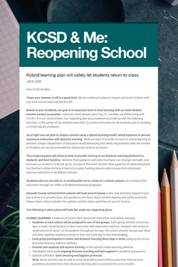 KCSD & Me: Reopening School