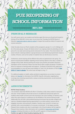 PUE Reopening of School Information