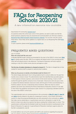 FAQs for Reopening Schools 2020/21
