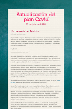 Actualización del plan Covid