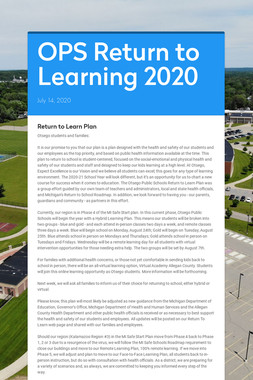 OPS Return to Learning 2020