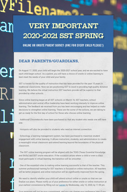 Very Important 2020-2021 SST Spring