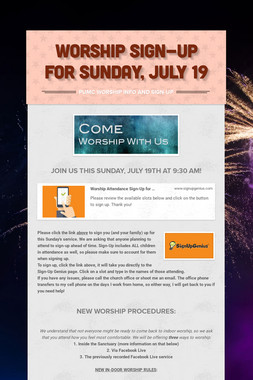 WORSHIP SIGN-UP FOR SUNDAY, JULY 19