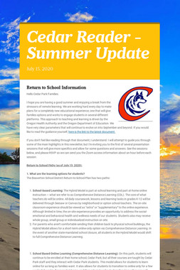 Cedar Reader - Summer Update