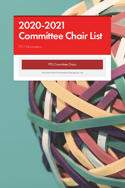 2020-2021 Committee Chair List
