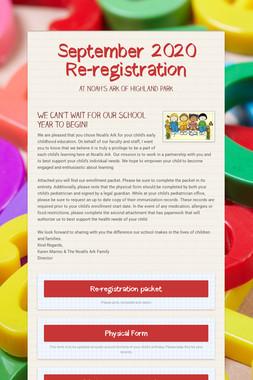 September 2020 Re-registration