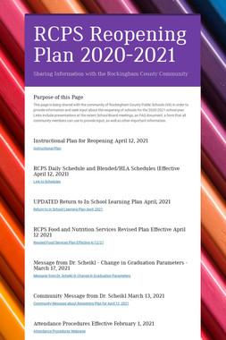 RCPS Reopening Plan Fall 2020
