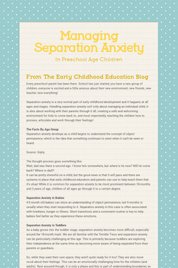 Managing Separation Anxiety