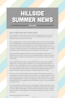 Hillside Summer News