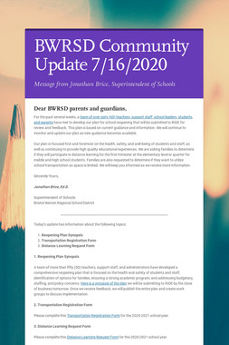 BWRSD Community Update 7/16/2020