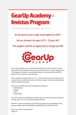 GearUp Academy - Invictus Program