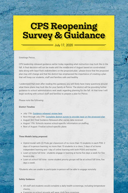 CPS Reopening Survey & Guidance