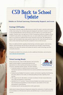 CSD Back to School Update