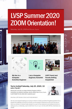 LVSP Summer 2020 ZOOM Orientation!