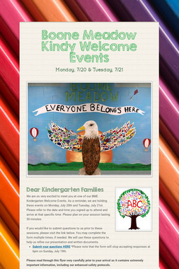Boone Meadow Kindy Welcome Events