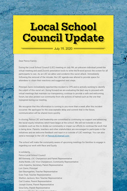 Local School Council Update