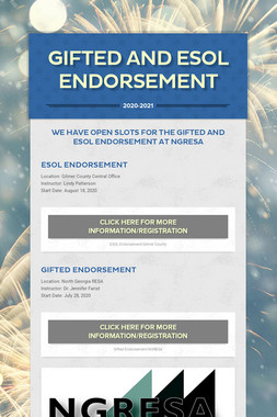 Gifted and ESOL Endorsement