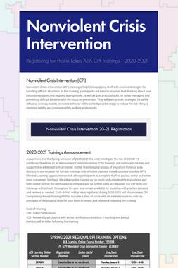 Nonviolent Crisis Intervention