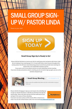 SMALL GROUP SIGN-UP W/ PASTOR LINDA