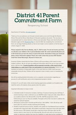 District 41 Parent Commitment Form