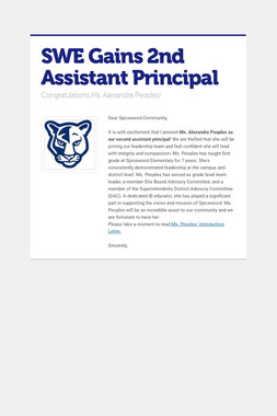 SWE Gains 2nd Assistant Principal